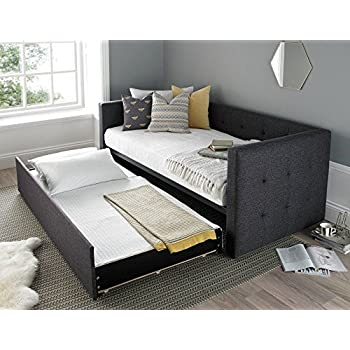 Happy beds frankie day bed grey fabric guest bed sofa with for 90 cm sofa bed