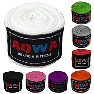 AQWA BOXING HAND WRAPS MMA Inner Gloves Fist Protector Bandages 4.5m Long (White)