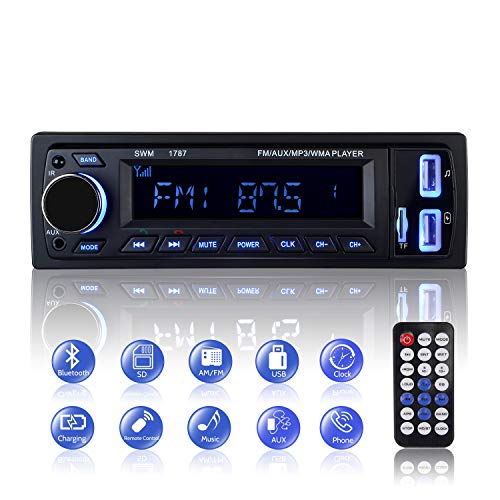 Autoradio Bluetooth, 1 Din Radio de Voiture Audio, Stereo FM Radio 4x60W Poste Radio Voiture Soutien Bluetooth/USB/SD/AUX/EQ / MP3 / TF + Télécommande