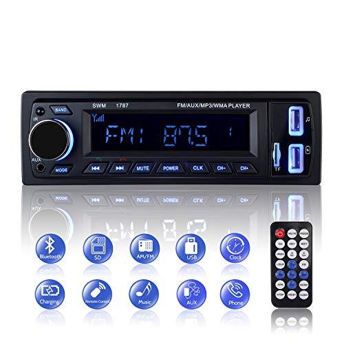 Autoradio Bluetooth, 1 Din Radio de Voiture Audio, Stereo FM Radio 4x60W Poste Radio Voiture Soutien Bluetooth/USB/SD/AUX/EQ / MP3 / TF + Télécommand