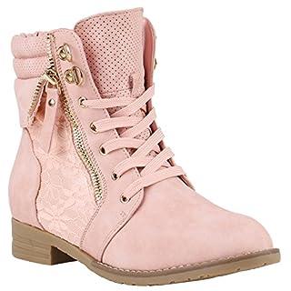 Damen Stiefeletten Schnürstiefeletten Worker Boots Zipper Schuhe 142054 Rosa Autol 41 Flandell