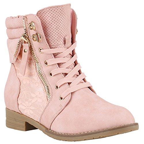 Stiefelparadies Damen Stiefeletten Schnürstiefeletten Worker Boots Zipper Schuhe 142054 Rosa Autol...