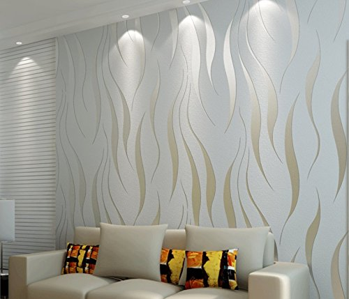 Price comparison product image Kamay's Top Grade Breathable 3D Flocking Embossed Microfiber Nonwoven Wallpaper Roll Classic Minimalist Glitter Metallic Bead Light Silver Water Plant Stripes Pattern