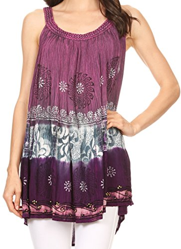 Sakkas Cecily Crinkle Réservoir de Batik Floral avec Sequins et Broderie Fuschia