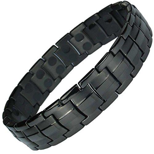 MPS® Titan magnetische Armband für Männer mit Klappschließe, 2 Magnete in jedem Link, Leistungsstarke 3000 Gauß Magneten, Mit gratis geschenk beutel