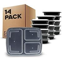 [14 piezas] Contenedores de Alimentos con 3 Compartimiento sin BPA   Fiambrera de Plástico Reutilizable con Tapa. Apilable, se Usa en el Congelador, Microondas y Lavavajillas. Bento Box + Ebook