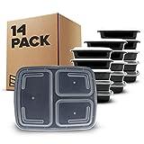 [14 piezas] Contenedores de Alimentos con 3 Compartimiento sin BPA | Fiambrera de Plástico...