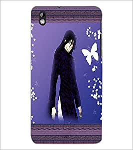 PrintDhaba Tensed Girl D-2488 Back Case Cover for HTC DESIRE 816 (Multi-Coloured)