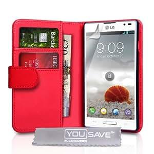 LG Optimus L9 Tasche LG Optimus L9 Rot PU Leder Brieftasche Hülle