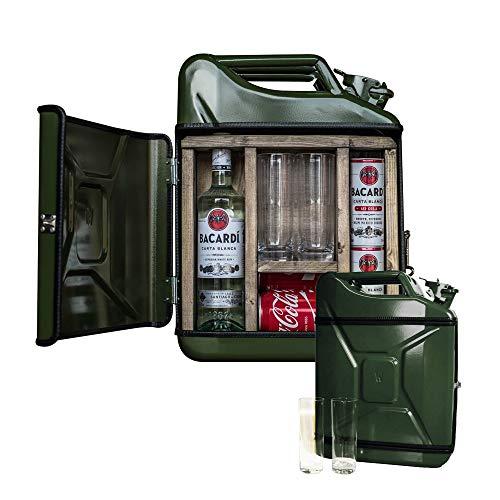 mikamax - Jerrycan Mix Drink Bar 20L - Whiskey Bar - Mobile Bar - Benzinkanister bar - Grün - 20 Liter - Holz und Metall - 46.5 x 34.5 x 14 cm