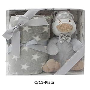 Duffi Baby- Manta y Peluche Patito, 90 x 75 cm, Color Plata (Master Baby Home, S.L. 5270-11)