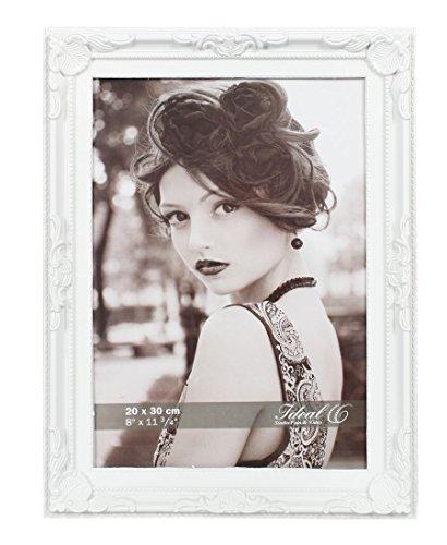 Barock Bilderrahmen Kunststoff in 13x18 20x30 Weiß Schwarz Bild Foto Rahmen: Farbe: Weiß   Format: 30x40