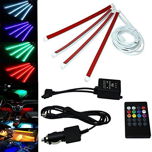 MPTECK @ Auto lampe LED Strisce Cambiare colore Interni Auto Decorazione con Telecomando e controllo vocale
