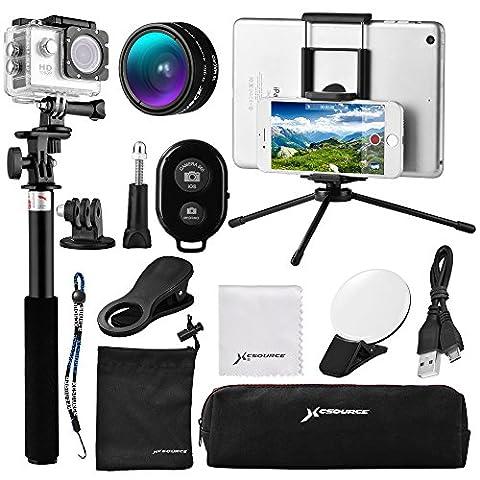 12 in 1 Mini Lens Kit, Wide Angle + Macro Lens + Bluetooth Shutter + 9LED Fill Light + Selfie Stick Monopod + Mini Tripod for iOS/Andriod Smartphone, Gopro Sports Action