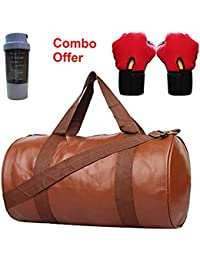 SKYSONS Gym Bag Combo Set Enclosed With Soft Leather Gym Bag For Men And Women For Fitness - Bag Size 49cm X 24cm... - B07DXWK83Q