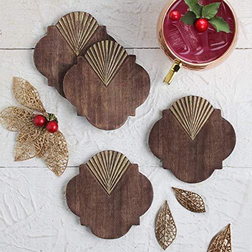 storeindya, Satz von 4 Holz Untersetzer für Tee Kaffee Bier Weinglas für Bar Esstisch Tabletop Küche Zubehör (braun)