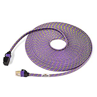 CAT7 Weave Shielded Ethernet Kabel Flach Patchkabel FTP Patchkabel LSOH Engineering Grade Netzwerkkabel (5m, Purple1)