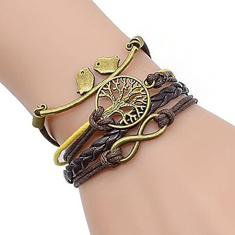 temps Usurier Bronze Symbole Infini Wish Arbre Oiseaux multicouche Charm Bracelet rétro