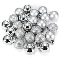 Bola de adorno - SODIAL(R) 24 piezas XMAS bolas brillas elegantes de adorno de decoracion de arbol chucherias de Navidad de color plata