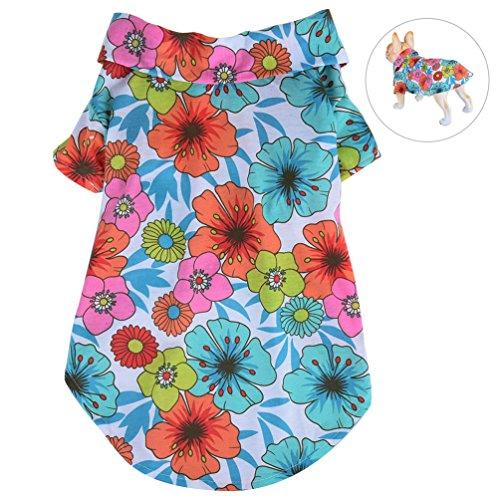 Petacc Camisa de Playa Mascotas Algodón Floral Camiseta Perro Elástico Ropa para Perros Ropa Transpirable para Perros y Gatos, (L, Flores)