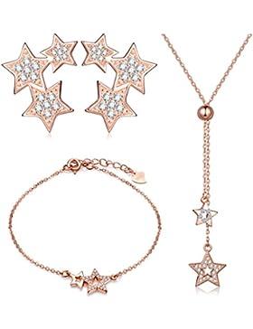 Yumilok Roségold 925 Sterling Silber Zirkonia Sterne Charm Armband Halskette Ohrstecker Schmuck Set Armkette Kette...