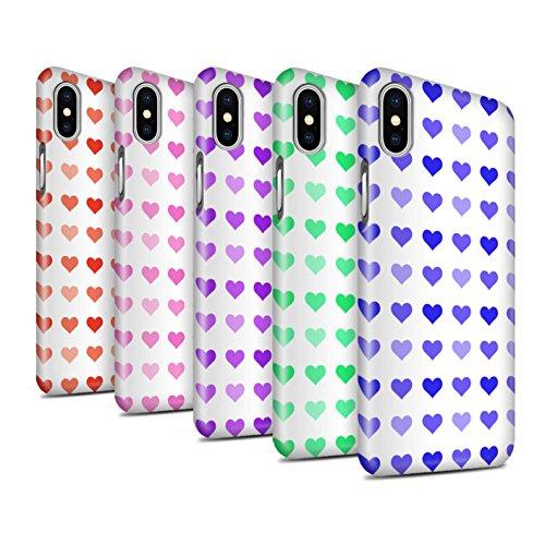STUFF4 Glanz Snap-On Hülle / Case für Apple iPhone X/10 / Pack 5pcs / Herz Liebe Schablone Kollektion Pack 5pcs