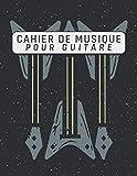 Cahier de musique pour Guitare - 110 pages | 21,59 cm x 27,94 cm (à propos de A4) | Standard et Tablatures | Avec portées, tablatures, grilles | Pour les guitaristes
