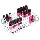 mDesign organiseur maquillage ? boîte de rangement maquillage avec quatre compartiments pour produits de maquillage, vernis à ongles et produits de beauté ? rangement make up idéal ? transparent