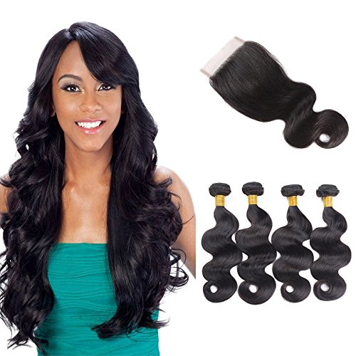 10 A brésiliens vierges Cheveux ondulés Lots avec fermeture Noir naturel Body Wave 200 grammes 4 trames avec 32 grammes 4 x 4 en dentelle Fermeture 14 16 18 20 + 35,6 cm (14 16 18 20+14 pouces)