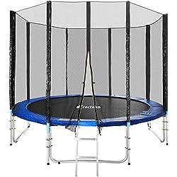 TecTake Cama elástica trampolín para Jardin con Red de Seguridad Escalera - Varias tamaños - (Ø 305cm | No. 401332)