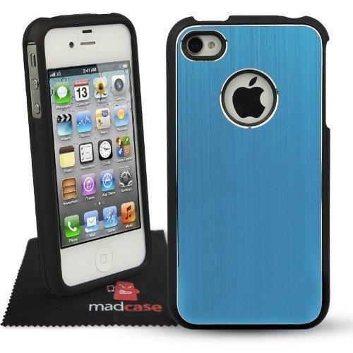 MadCase Apple iPhone 4S / 4 Aluminium Metalle Elegante Pro Case Etui Hülle case mit schwarzen bumper - dunkelblau - Himmelblau