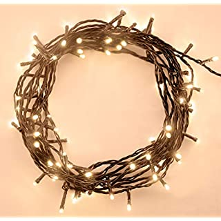 Fairy Lights 200 LED 20m Warm White Indoor/Outdoor Christmas Lights String Tree Lights Festival/Bedroom/Party Decorations Memory Mains Powered 65ft Lit Length 3m/9ft Lead Wire Green Cable