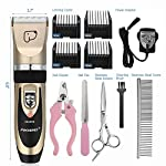 Dog Grooming Clippers, Focuspet 2 Speed Adjustable Dog Clippers Rechargeable Cordless Low Noise Dog Clippers Kit… 13