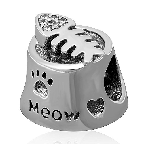 Meow Cat Bowl Charm with Clear CZ Fish Bone 925 Sterling Silver Pet Paw Print Beads Fit European Charms Bracelet
