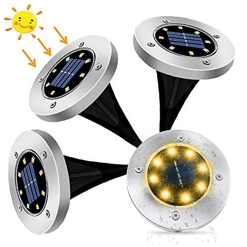 4Pcs Luces Solares Exterior Jardin 8 leds,IP65 Focos