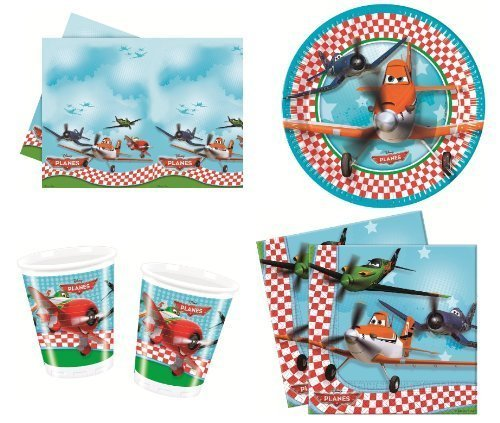 Disney Planes Party Geschirr Pack für 8 Gäste Inklusive Becher, Teller, Tischdecke und Servietten. 37 Party Artikel. (Pixar Party Supplies)