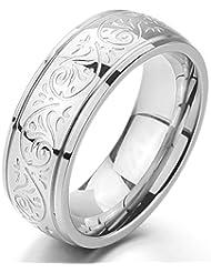 MunkiMix 7mm Acero Inoxidable Anillo Ring Banda Venda Plata Grabado Florentino Diseño Encanto Atractivo Elegante Talla Tamaño 5~15 Hombre