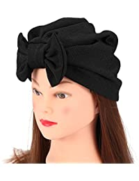Sombrero Turbante Moda Para Mujer Bowknot Beanie Gorro Algodón Cálido 4  Colores(negro) 66073cbcaeb