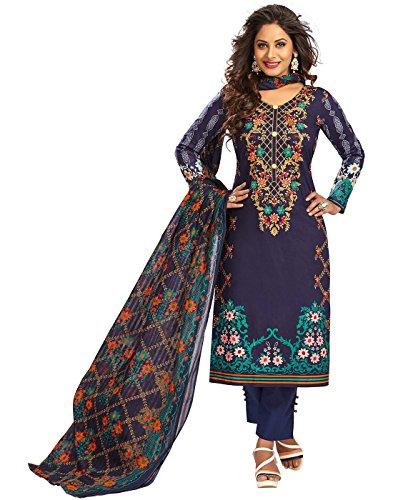 Jevi Prints Blue Unstitched Women's Pakistani Lawn Cotton Floral Printed Punjabi Suit...