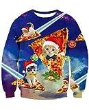 NEWISTAR Weihnachtpullover Herren Damen 3D Pizza Katze Gedruckt Pullover Damen Weihnachten Jumper Tops Sweatshirts Bluse XXL