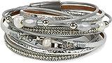 styleBREAKER Wickelarmband mit Schmuck Perlen und Bändern, Strass, Ketten und Stern Elementen, Magnetverschluss, Armband, Damen 05040079, Farbe:Silber