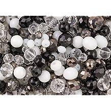 400piezas elegante negro, blanco y claro cristal Rondelle y la Ronda de Mezcla de cuentas para bisutería