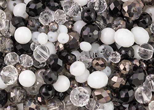 400Stück Elegant Schwarz, Weiß und Glas Kristall klar Rondelle und Runde Perlen Mix für Schmuckherstellung