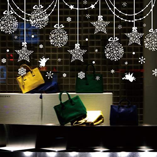 XCGZ Wandaufkleber Sterne Schneeflocken Engel Glas Aufkleber DIY Weihnachten Wandtattoos Für Wohnzimmer Markt Schaufenster Dekoration