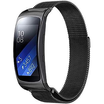 Simpeak Bracelet Compatible Samsung Gear fit 2, Bande de Montre Bracelet magnétiques en Acier Inoxydable
