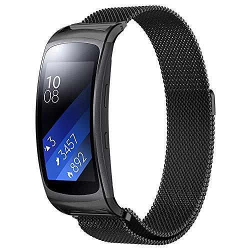 Simpeak per Samsung Gear Fit2 Cinturino Fit 2 Pro Banda in Acciaio Inossidabile Band Loop Milanese con Chiusura Magnetica per Samsung Gear Fit 2/ Fit 2 Pro, Piccolo, 5.5-6.7', Nero