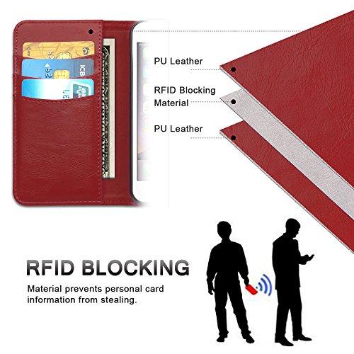 iPhone 8 Plus / 7 Plus Hülle, SHANSHUI 2in1 Doppelschutz Handyhülle mit RFID Schutz, Kartenfach für Bankarte und Geldschein, Geldbeutel-Style mit Magnetverschluss (Schwarz) … Rot
