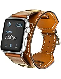Apple Watch Band, Sanday Muñequera Correa de piel auténtica con 38 mm & 42 mm para Apple Watch iWatch Eduction & Sport