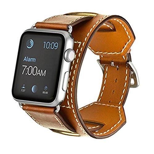 Apple Watch Leather Armband 42mm,Sanday Premium Echtes Leder Vintage Band Strap Edelstahlschließe für Apple Watch 42mm Series 3,Series 2,Series 1 Braun