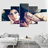 HIMFL Segeltuch HD gedruckt Amy Winehouse Music Star Bilder Malerei Wandkunst 5 Stücke für Wohnzimmer Schlafzimmer Zuhause Dekorationen